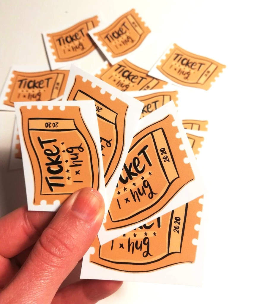 Hug vintage style ticket stickers by LucyJoy