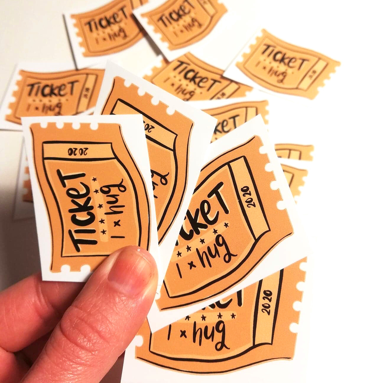 Hug ticket stickers by Lucy Joy Artist