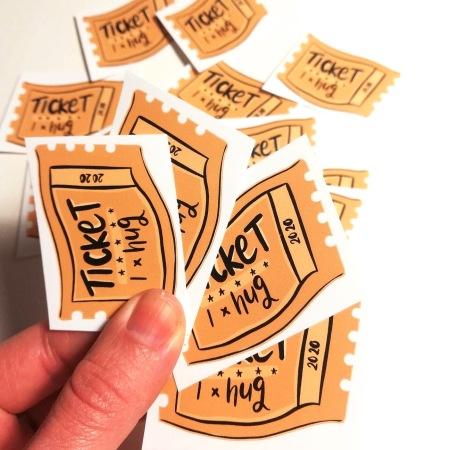 Hug ticket stickers by Lucy Joy Artist