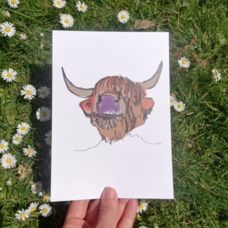 Lucy Joy Artist - one line art creating joy everyday . Highland cow