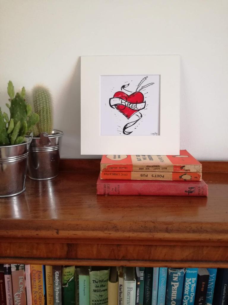 Lino print tattoo inspired artwork by Lucy Joy