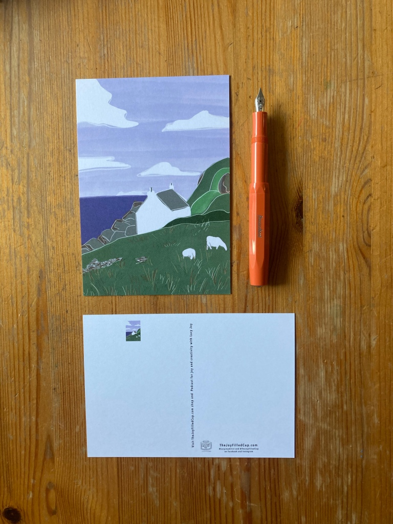 The joy filled cup - scottish highlands landscape postacard